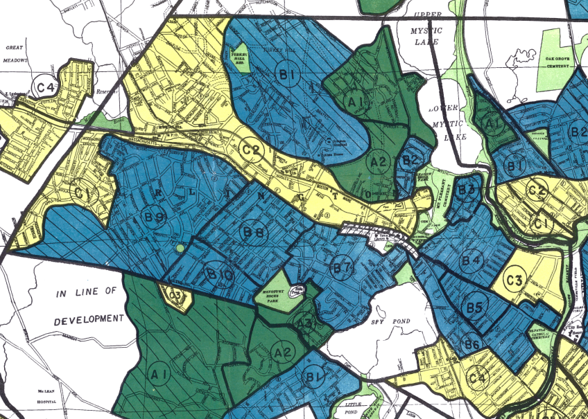 """""""Redline"""" map of Arlington, MA, courtesty of the Home Owner's Loan Corporation"""
