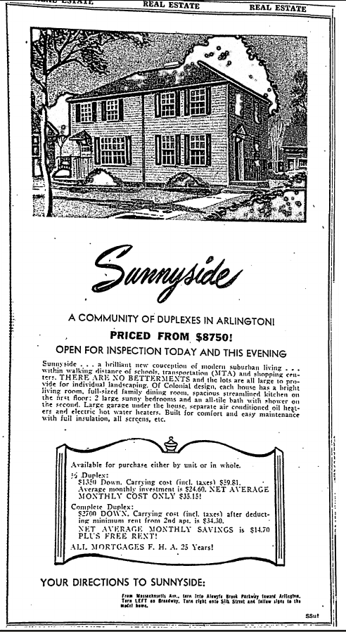 Sunnyide - a Community of Duplexes in Arlington! Priced from $8750!