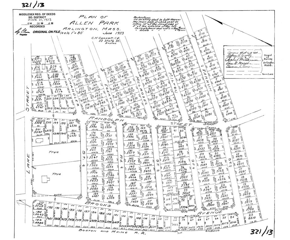 Plan of Allen Park, Arlington Mass.  Dated June 1923.